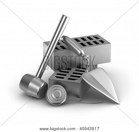 Building tools: hammer, tape measure, trowel and bricks