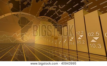 Business market background with stock diagramm