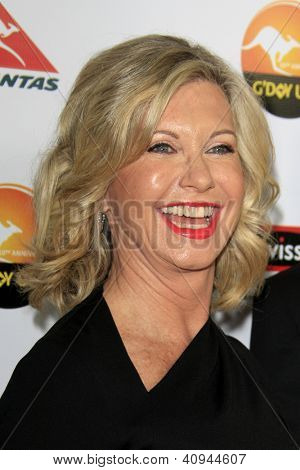 LOS ANGELES - JAN 12:  Olivia Newton-John arrives at the 2013 G'Day USA Los Angeles Black Tie Gala at JW Marriott on January 12, 2013 in Los Angeles, CA..