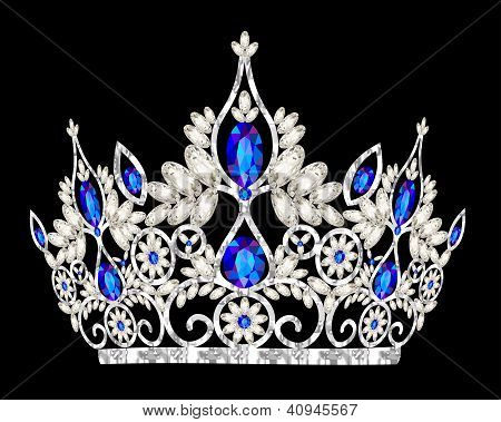 Tiara Crown Women's Wedding With A Blue Stone