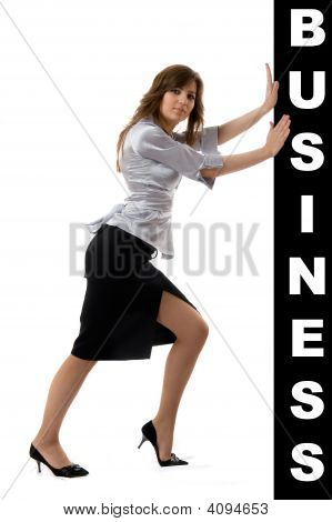 Business Woman Pushing Something
