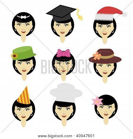 girl in different headdresses