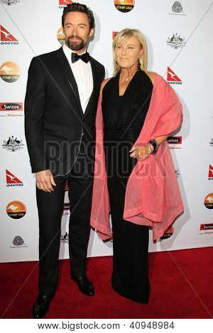LOS ANGELES - JAN 12:  Hugh Jackman, Deborra-Lee Furness arrives at the 2013 G'Day USA Los Angeles Black Tie Gala at JW Marriott on January 12, 2013 in Los Angeles, CA..