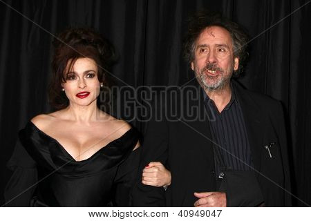 LOS ANGELES - JAN 12:  Helena Bonham Carter, Tim Burton arrives at the 2013 LA Film Critics Awards at InterContinental Hotel on January 12, 2013 in Century City, CA