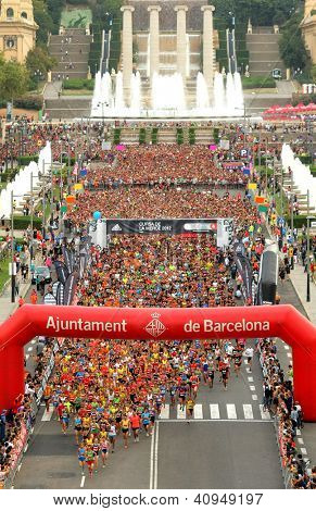 BARCELONA - SEPT, 16: Runners on start of La Cursa de la Merce, a popular race in Montjuich Mountain on September 16, 2012 in Barcelona, Spain