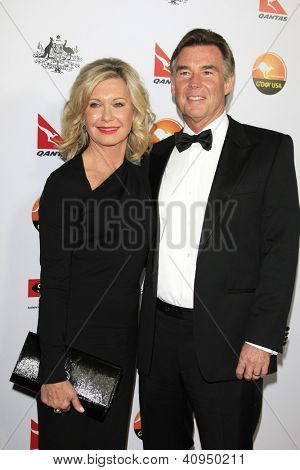 LOS ANGELES - JAN 12: John Easterling, Olivia Newton-John at the 2013 G'Day USA Los Angeles Black Tie Gala at JW Marriott on January 12, 2013 in Los Angeles, California