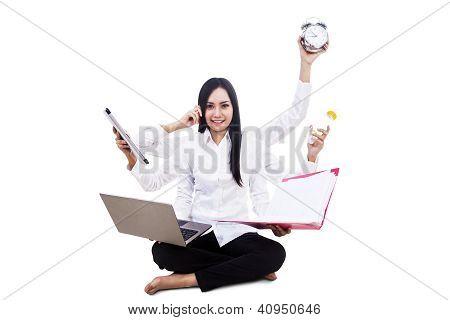 Empresaria multitarea aislado