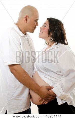 Cute Hispanic American Pregnant Couple