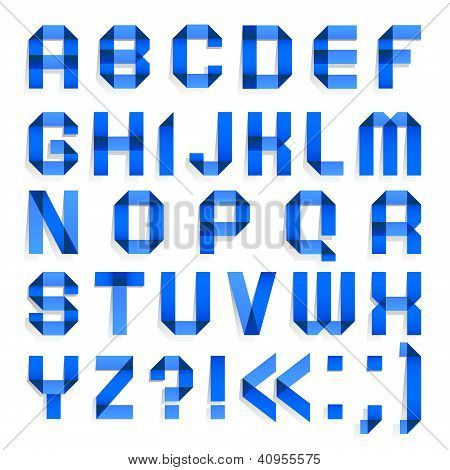 Alphabet folded of colored paper - Blue letters