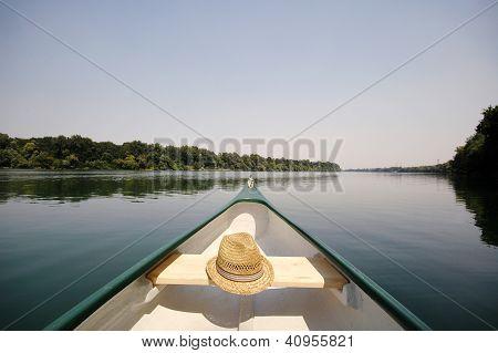 Bow Of A Canue On The River Sava Near Belgrade , Serbia