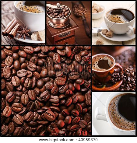 Collection of coffee. Six images on a coffee theme.