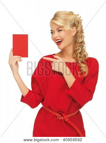 picture of lovely woman in red dress with note card