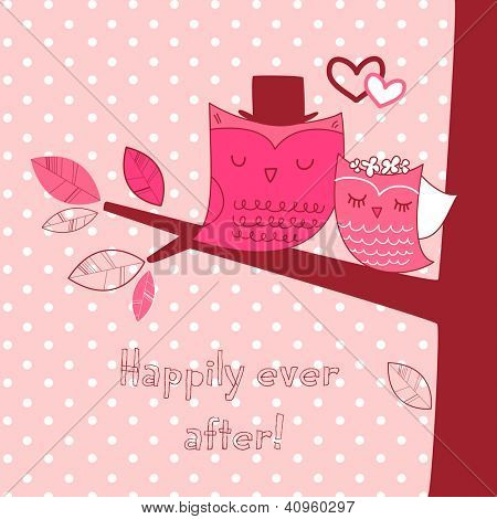 Two cute owls on the tree branch, Romantic Valentines Card