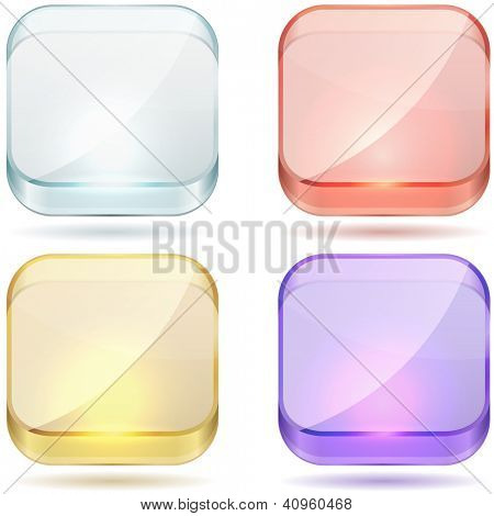 Bright color glass rounded square buttons vector set isolated on white background.