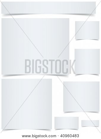 Standard sized blank web banners with curled edges effect isolated on white background.