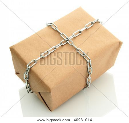 parcel with chain, isolated on white