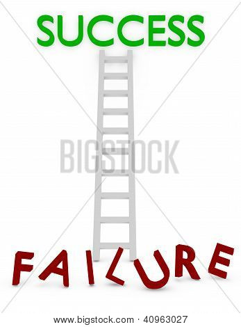 3D Render Of A Ladder To Success Or Failure