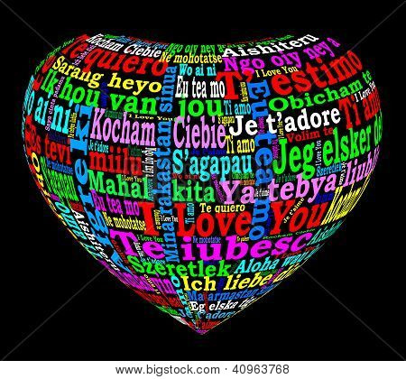 Multilingual Colored 3D Heart