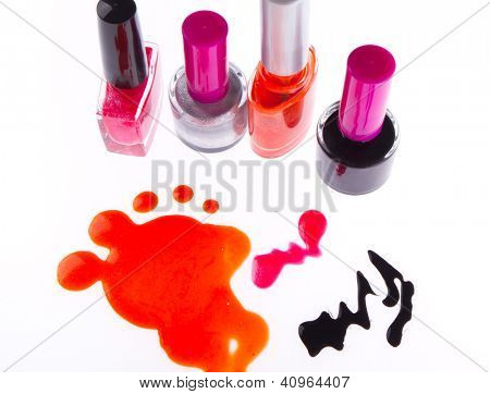 nail polish set isolated on white background