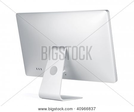 Computer display. Rear view. Isolated on white background