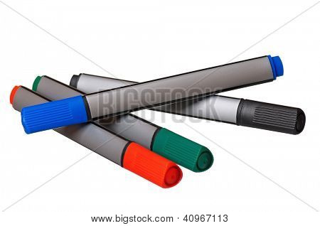 Colorful whiteboard markers isolated on white background