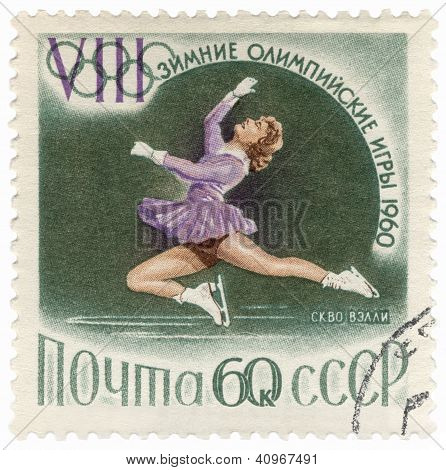 Figure Skater Performance On Post Stamp
