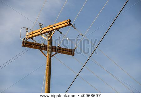 Wood Power Pole And Lines