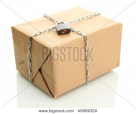 parcel with chain and padlock, isolated on white