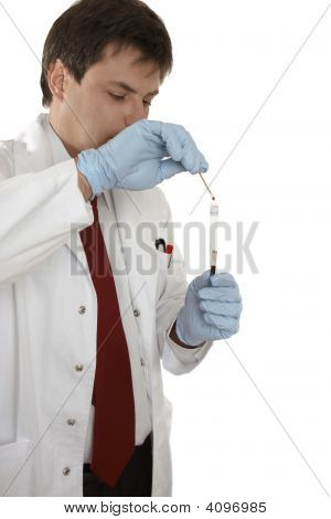 Crime Scene Investigator Testing A Swab For Blood