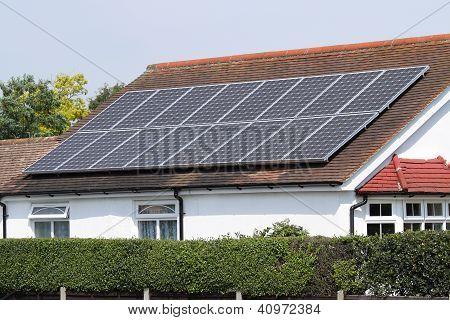 Solar photovoltaic panels on  house roof