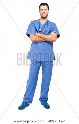 Handsome youn male nurse isolated on white full length