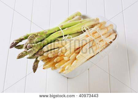 Healthy ingredient variety of green and white asparagus