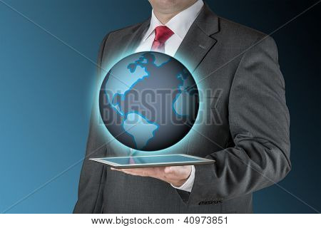 Business Man With Tablet And Earth