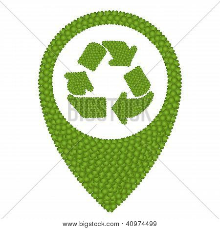 Four Leaf Clover Of Recycle Icon In Navication Icon