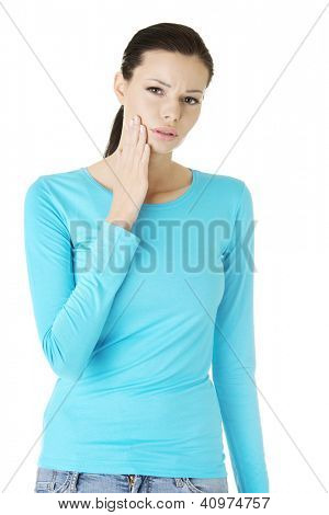 Beautiful woman with toothache , isolated on white