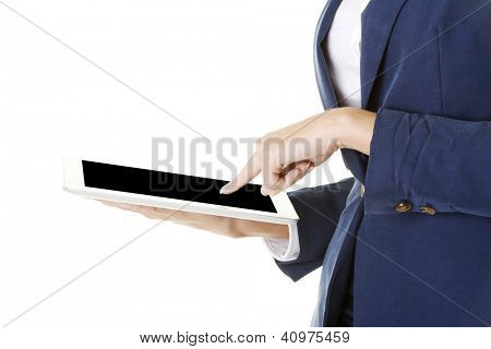 Attractive business woman using digital tablet computer PC, isolated on white background.
