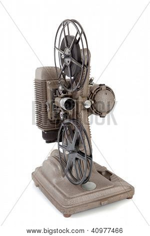 A vintage 8mm movie projector on a white background