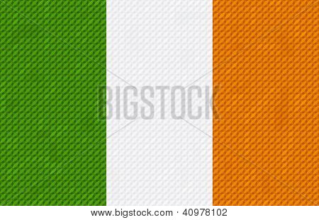 Irish flag background made with embroidery cross-stitch.