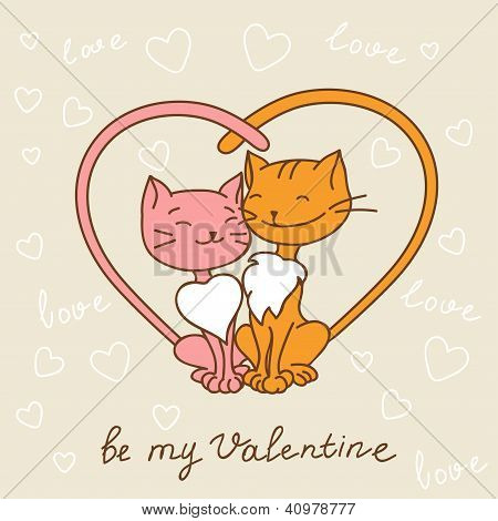 Valentine's day love postcard with hand drawn cats.