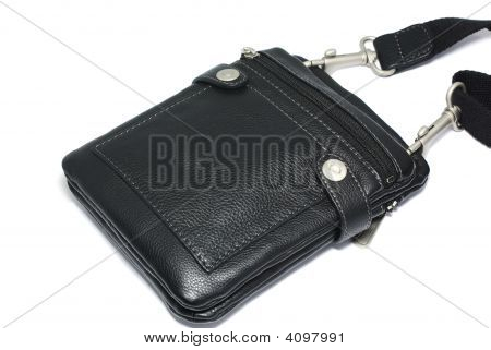 Modern Men Pouch Made Of Black Leather Isolated On White Background With Shadow.