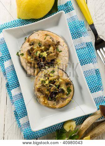 grilled swordfish with mushrooms and lemon peel