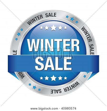 Sale Winter Button Blue Silver