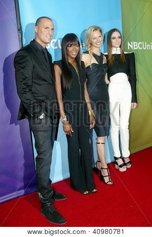 PASADENA, CA - JAN. 7: Nigel Barker, Naomi Campbell, Karolina Kurkova & Coco Rocha arrive at the NBCUniversal 2013 Press Tour at Langham Huntington Hotel on January 7, 2013 in Pasadena, California