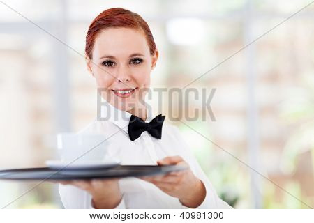 attractive young waitress serving coffee in cafe