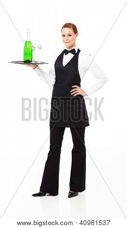 waitress with champagne and glasses isolated on white