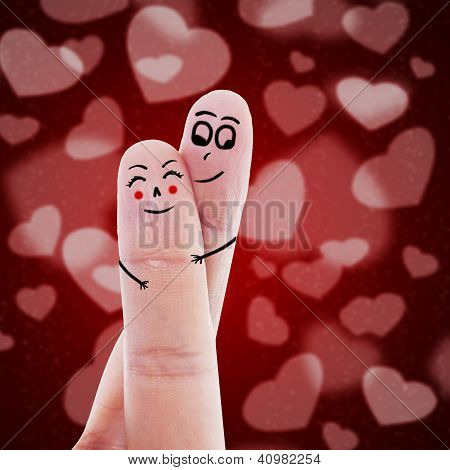 Cute finger couple in love