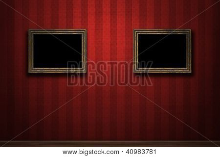 Old Wooden Frames On Red Retro Grunge Wall