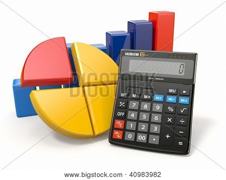 Business analytics. Calculator and graphics on white background.