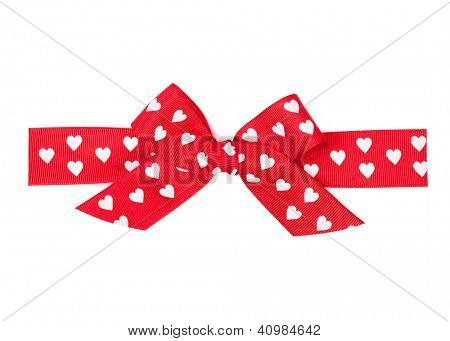 red bow with hearts made from silk ribbon