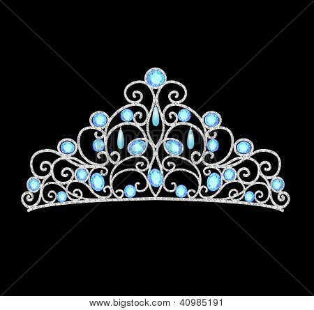 Women's Tiara Crown Wedding With Blue Stones And Pearls